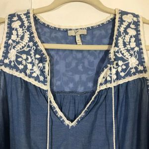 JOIE Tops - Joie   Embroidered  Chambray Top